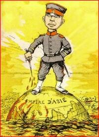 ビゴーの風刺画「アジア帝国」についてです。 この風刺画が黄色い色が強く使われているのは 当時の黄禍論やイエローモンキーといった意味合いが 込められているのでしょうか? すいません、どなたか歴史に詳し...