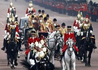 ロイヤルウェディングですが、  鎧のヘルメット? のようなものをかぶっている騎馬隊は近衛兵になるのだと思いますが、ヘンリー王子たちと同じ馬車に乗っているシルクハットの二人、二人の前を走っているシルクハ...
