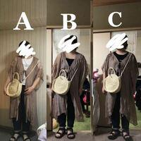 A.B.Cのうち、どのインナーがいちばん合ってるかお答え頂きたいです。 Aは白ティー Bは黒のキャミ  Cは黒ティー  です。