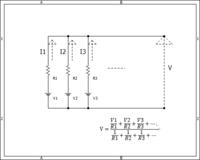 電気回路のこの問題の解き方を教えて下さい。 問題文 「下記画像の回路図でVを求めよ。 Vn,Rn,Inの組は複数個続きます。 キルヒホッフの法則よりI1+I2+I3+I4 .... = 0 を用いて解くこと。」 という問題です。 答えは画像のようになっています。 友達に聞いてみると,オームの法則V=RIに当てはめたら解けると言っていたのですが、なぜそうして良いのか解りません。 ...