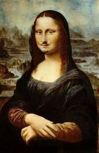【画像】悪質なコラ画像を見つけました! かの有名な絵画・モナリザにヒゲが描かれています! これは流石にアウトですよね?