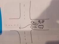 一方通行の道路でその先に交差点があり、中央線が無いので右折レーン?がありますが バイクは右折と示されてても左の直進車と混じって直進はできるのでしょうか?