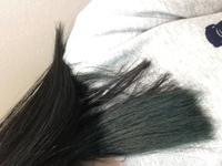 カラーバターで青を入れたくて、ブリーチ(1回)→紫→青 を入れましたが深緑みたいな色になりました。  ここから青を濃く入れたら色は入りますか?  それとも青に紫を少し混ぜて入れた方が青に なりますか?  ※...