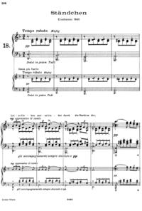 シューベルトの「セレナーデ」の楽譜なんですがピアノ・ソロなのに 4段になっているはなぜでしょうか?