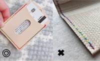 レザークラフト初心者です。 レインボー糸や段染め糸で綺麗なグラデーションが出るように 縫いたいのですが平縫いだとうまくいきません。 2本の針それぞれの方向からのちぐはぐな 2色ステッチもどきになってしまいます。 画像左のような糸の出方にするのはどう縫うのでしょうか?
