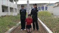 中国の死刑(銃殺)についてなんですが、実行直前まで死刑囚に付けられている看板みたいなやつは何ですが?また、何の意味があるのでしょうか?