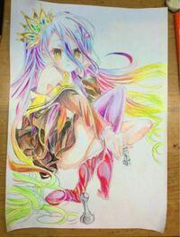 イラスト評価お願いします! 色鉛筆でノゲノラの白を模写しました。 特に色の塗りに関して、アドバイスが欲しいです。