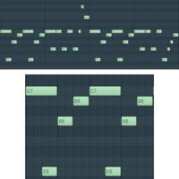 コード進行とメロディの関係についての質問です。  サンプルパックを購入して、その中のコンストラクションキットを自分なりに分析していました。 Am F G C のコード進行で、画像のようなメロディでした。  F G での構成音とメロディが少ししか一致してないのが疑問でした。 特に3小節目のGのコードでCの音が鳴っているのは問題ないのでしょうか。  自分の耳にあまり自信がないのです...