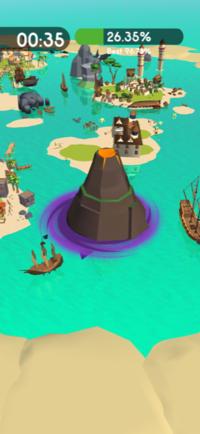 携帯アプリHole.io(ホールアイオー)の海のステージの火山がどうしても飲み込めません。 そもそも飲み込めるのでしょうか?  宜しくお願いします。