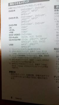 パソコンでDVD-Rにmp4(.mp4)を書き込みしたのですが、パソコンでは再生できますが、DVDプレイヤーでは再生できませんでした。 どのようにしたら再生できますか? DVDプレイヤーの説明書の画像をのせておき...