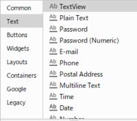 android studioで「Design」モードで<EditText>を追加したい。 textモードにすれば 「E」と入れた段階で<EditText>と出てくるので まあ、なんとかなるっちゃなんとかなるんですが・・・。  TextV...