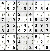 ナンプレです。次の一手を教えて下さい。 左上の9マスの中の、下の真ん中の1568の6は消せますが、その先が解りません。 宜しくお願いします。