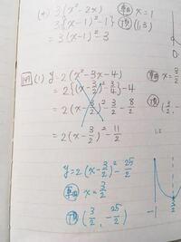 平方完成、高校数学Iです。 私の解答が、黒で 答えが青です。 解き方、どこから間違えいるのか教えてください。
