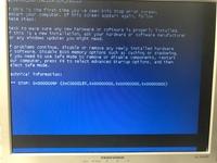 パソコンで立ち上げる時に以下の写真の画面が出て止まってしまいます。今更ながらWindows Vistaなので、それが原因かと思っているのですが、とりあえず立ち上げる方法はないでしょうか? パソ コンのハードディ...