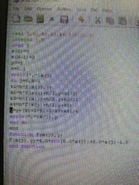 以下の微分方程式をルンゲクッタで解け、という問題で以下のようにプログラミングしたのですが、undefined reference to 'f_ 'となりできません。教えてください! y'=4sin (6x)+2x-1