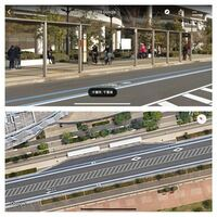 巨大なバス停の場合、バス停から10メートルの駐停車禁止区域はどう考えればよいですか? ①乗り場看板から10メートル ②屋根部分から10メートル ③バスベイ全体とバスベイから10メートル