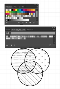 イラストレーターでパターン描いた図形を重ねると,重ねた部分はパターンも重なってしまいます.  重なった部分も1つのパターンだけにする方法を教えて下さい.