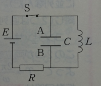 起電力Eの電池と容量Cのコンデンサー、インダクタンスLのコイルを用いた添付画像のような回路がある。スイッチSは閉じられている。このとき、コンデンサーの極板AとBの電位が等しい理由を教えて下さい。