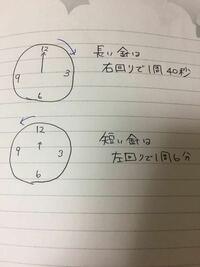 1. 長い針と短い針が同時に逆方向にスターしたあと、長い針が12に戻るまでに、2つの針が1回重なります。それはスタートして何秒後ですか。  2. 1も同じように針がスタートして、その5分後に長い針と短い針がつくる18 0度より小さい方の角度を求めなさい。  という2問がわかりません。 小学生でもわかるように説明頂けますでしょうか。 ご指導お願いします。
