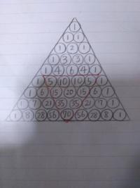 素数と自然数の関係についての発見 パスカルの三角形の自然数列の素数Pに注目すると、そこから逆三角形の形に続く数の 範囲が全てPの倍数となるのを発見したんですが、もう発見済みですかね? もしそうなら、証明...