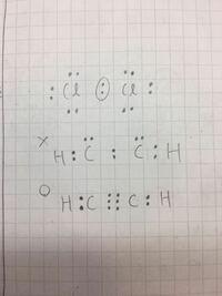 電子式の考え方について質問です。 例えば、写真のようにC l2は非共有電子対を残しておくのに、アセチレンは非共有電子対を残さず全て使っているのがよくわからないので、解説をお願いします。