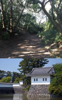 城マニアの方。魅力度で言えば熊本城、大阪城、名古屋城に比べると小田原城はかなり落ちますか? … (上)城址公園内の本丸西側に残る障子堀跡 (下)隅櫓と水堀