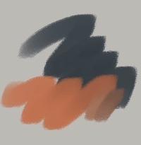 アイビスペイントでの質問です。  ペンのカスタマイズができるようになりましたが、このペンに近いカスタマイズはどのようにすればできるでしょうか…?  画像はクリスタのかすれ油彩という ものを使っているらしいです。  ・ふちのにじみ(画用紙に描いたような質感) ・色を重ねた時に 下の色と混ざる(かつその後の線も混ざった色になる) ・線の中間はかすれない  このあたりを抑えれば...