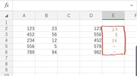 Aの範囲内D2のセルの値があれば、 E2セルにB2セルの値を自動転記する関数を 教えてください。 なければ「-」が転記されるようにしたいです。  E2セルに関数を入力し、E2の下のセルにコピー した場合に D2のセルの値には、A5の真横 B5の値「5」が自動転記されるようにしたいです。 (E2をコピーしたらE3に「56」が入ることがあったため)