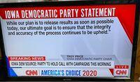大統領候補の選出で、アイオワで 民主党は、なぜ  集計結果が出せないのですか?