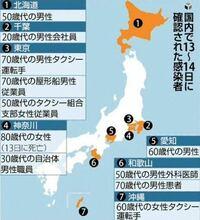 北海道に1人の感染者が出たことで北海道の色が変わりました。 これって、25メートルプールに一滴赤い液をたらしたらプール全体が一気に朱色になったみたいな感じですか。