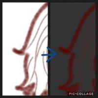 アイビスペイントについて アイビスで水彩のペンを使って線を描き、色を塗ったのですが、線画のこのふわふわ感を残したいのに色を塗ったらこのようになります(画像)どうしたら水彩のペンのふわふわ感を残して色を...