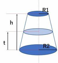 断面tでの半径の求め方を教えてください。(h=2tではないです)