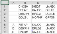 エクセルの関数でお願いします。 下図のように、A~T迄の20文字がランダムに、5文字づつ4行(B1:B4)にあり、下図ではB,C,Dの3列にあります。 この列ごとに、文字「A」が含まれるセル、「B」が含まれるセル、「C」が含まれセルを選んで表示したいのです。 関数のみで教えて下さい。MATCH,FIND,SEARCH関数はいろいろ試してみましたが、できませんでした。宜しくお願いします。