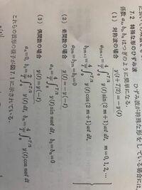 フーリエ級数の対称波について質問なのですが、画像の⑴でa 2m+1=…の式があるのですが、この前のページでフーリエ係数の公式でan=2/T…という公式を暗記したのと違います…どうして2m+1なのでしょうか?
