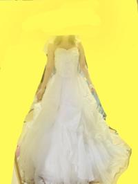 このウェディングドレスに2段ワイヤーのパニエを使用してますが、ラインがあまりキレイではないですよね? お譲り受けたドレスなので、そもそもこのドレスがAラインなのかプリンセスラインなの かも分かりません...