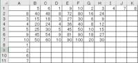 VBAでの100マス計算です。 Sub 百マス計算()   Dim i, j As Long      For i = 2 To (cells(Rows.Count, 1).End(xlUp).Rows)  For j = 2 To (cells(1, Columns.Count).End(xlToLeft).Columns)    cells(i, j) = cells(i...