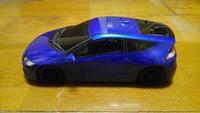 ラジコン、タミヤのスペアボディ、HONDA、CR-Z メタリックブルー塗装しました。いかがでしょうか。