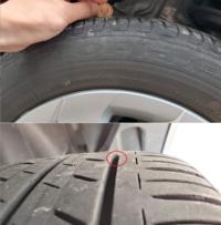 タイヤの寿命判断をお願いします  先日オートバックスでオイル交換をした際に、店員からタイヤ交換を進められました。 曰く、かなり劣化しているので早く変えた方が良い、高速走行中にバーストする可能性が 高...