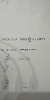 数Ⅲ、微分です。xの関数yを媒介変数Tで表すとき、分かりません‼️教えていただけますか?