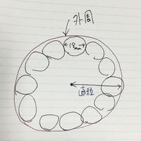 自分では求め方が全くわかりません。よろしくお願いします。  直径18mmの円を時計の文字盤のように12個並べます。 その時、12個の円が全て接し、かつ外周が円になるように配置するには直径が何mmの円に配置すれば良いでしょう?  文字で分かりにくいので図にしましたが伝わりますでしょうか? どなたか分かる方よろしくお願いします。