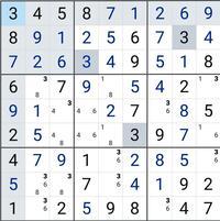 数独(ナンプレ)の解き方について。 図から先にすすむ考え方を教えてください。 仮定して矛盾したら引き返す方法ではなく、理詰めで教えていただけると嬉しいです。