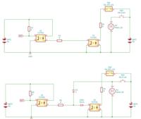 上のような回路があります。 左側のOUTは、右側のSW1によって、ON/OFFされています。  この回路で、SW1の状態にかかわらず、 SW2が押されたら、OUTをHIGHにしたいです。 左側の回路と右側の回路は、それぞれ基...