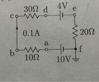 電気回路の問題です。 下記の画像のa~f点での電位を求めなさいという問題があるのですが起電力が1つなら解けるのですが起電力が複数ある場合の解き方がわかりません なので教えてください よろしくお願いします