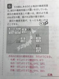 中一 数学 正の数負の数 文章題 広島と仙台は負の数で低くなるはずなのになぜ上がっているのですか? 解説よろしくお願いしますm(*_ _)m