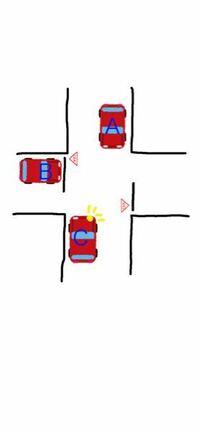 交差点での優先順位についてですが、 同一幅員の道路の交差点で下の画像のような状態の場合、 ABCはどのような順番になりますか?  直進車、左折車、右折車、左側の車、とあるけど止まれの標識があった場合っ...