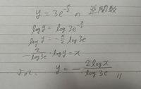 逆関数の求め方  画像のように変形して逆関数を求めたのですが、どの段階から間違っているのかわかりません。