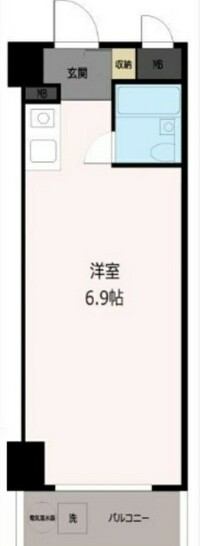 質問です、この賃貸マンションの間取りはだいたい何㎡あると思いますか?ワンルーム6.9畳で、ミニキッチン、洗濯機置き場はバルコニーです。関東です。