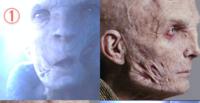スターウォーズのEp7のホログラムスノークとのEp8の生身のスノークを比較すると傷の位置などが少し違います。 スノークはクローンだったから、7と8は違うクローンの肉体だったのでしょうか?それとも映画上のデザインの違いなのでしょうか?  どう思いますか?