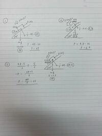 物理基礎の運動方程式の︎︎問題です Fを求める問題なのですが、求めるときの式をどこで判別すればいいか分かりません。 どのようなときが ①F-sinθ×mg=ma  ②F+sinθ×mg=ma  ③ (?)  になるのでしょうか? ③の式の=2...