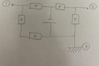 電位差の問題について コイン200枚 即レス求みます。  ①を基準としたときの②の電位はいくらになるのでしょうか? 電源電圧はVで、抵抗は全てrです。 ③はアースしています。